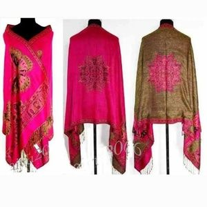 New Cashmere reversible pink butterfly wrap